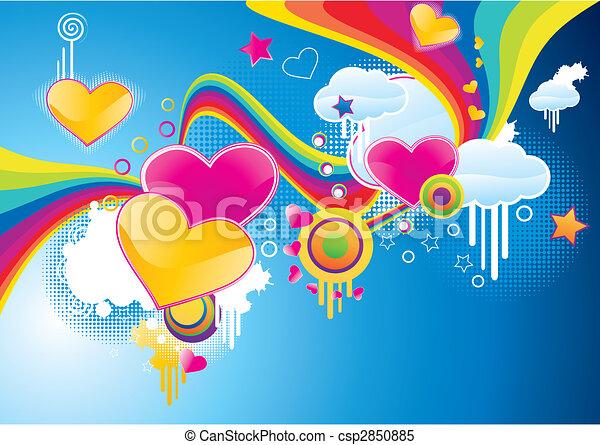 Funky styled valentine background - csp2850885