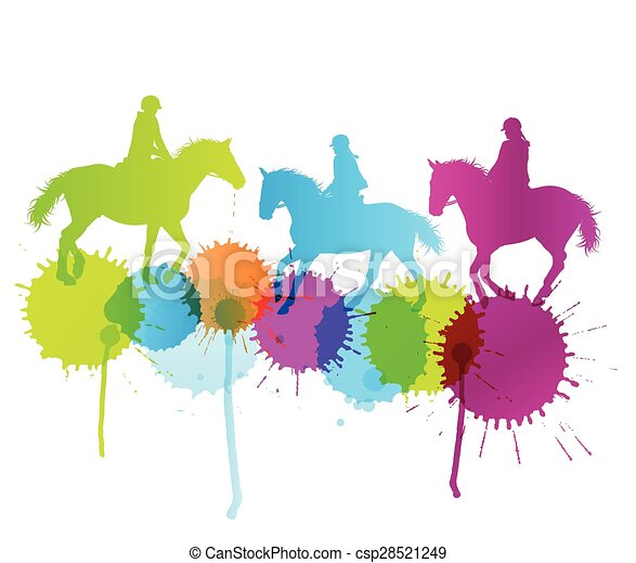 Horse riding vector background concept with color splashes - csp28521249