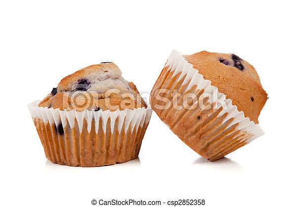 Blueberry muffins on white  - csp2852358