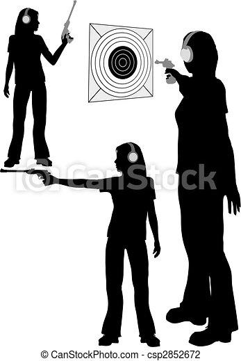 Silhouette woman shoots target pistol - csp2852672