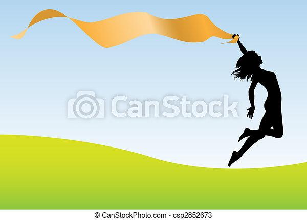 Woman run jump hold banner earth sky - csp2852673