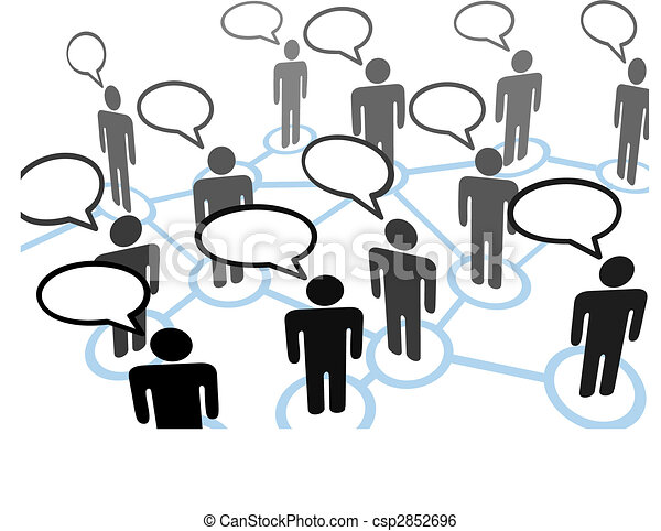 Everybodys talking speech bubble communication network - csp2852696