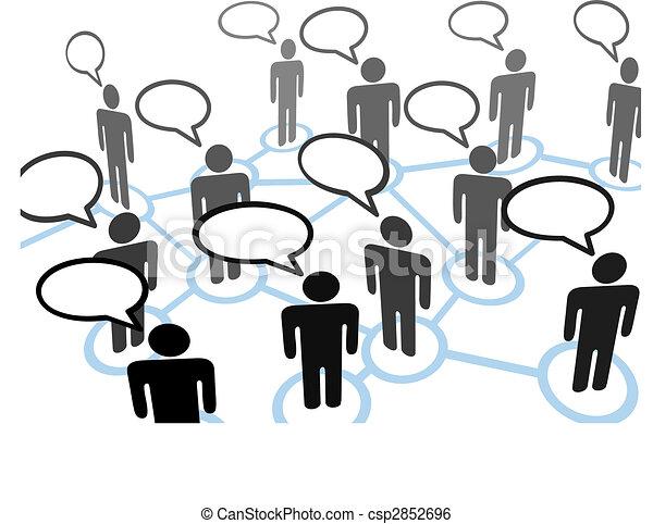Everybodys talking speech bubble communication network - csp2852696