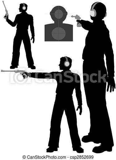 Silhouette man shoots target pistol - csp2852699