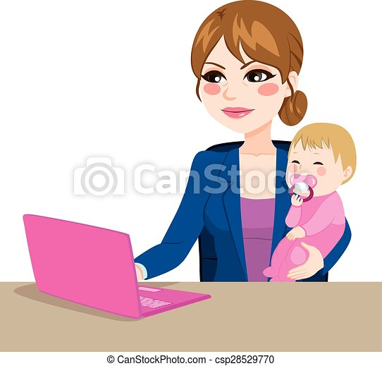 Vectors Illustration of Working Mother With Baby - Focused ...