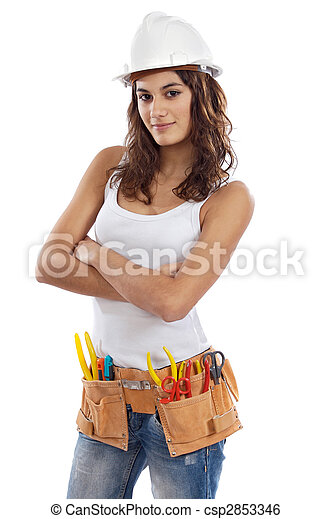 Pretty girl with helmet and belt of tools - csp2853346