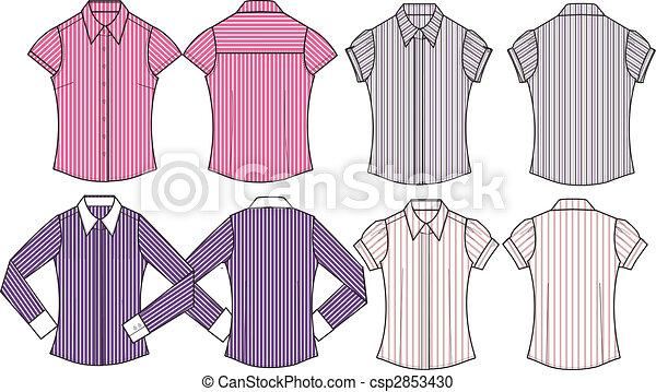 lady formal stripe shirts - csp2853430