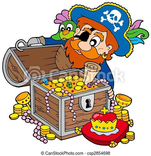 Pirate opening treasure chest - csp2854698