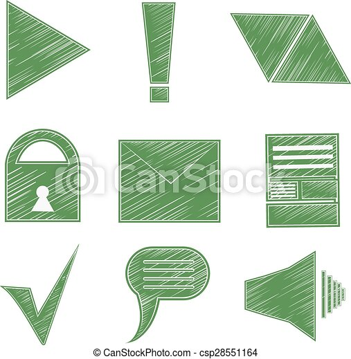 Clip Art Vector of Set icons, symbols, arrows, checkmark, envelope ...