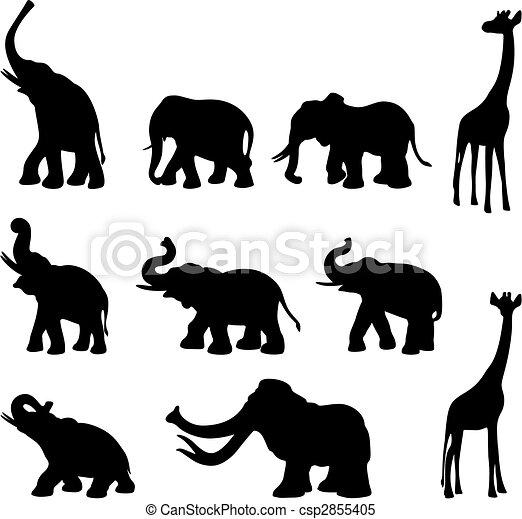 Elephants, mommoth, giraffe - csp2855405