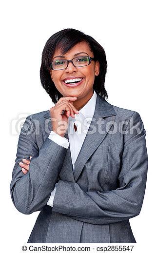 Attractive hispanic businesswoman wearing glasses - csp2855647