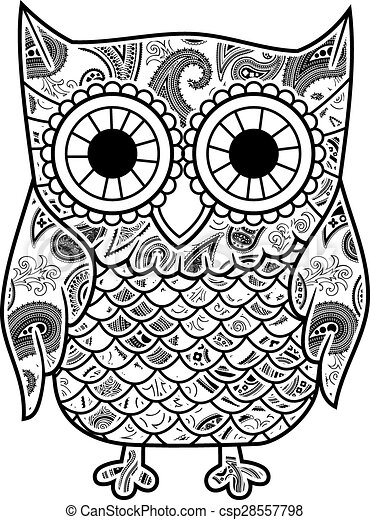 EPS Vectors Of Abstract Decorative Owl With Paisley