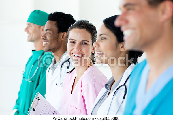International medical team standing in a line - csp2855888