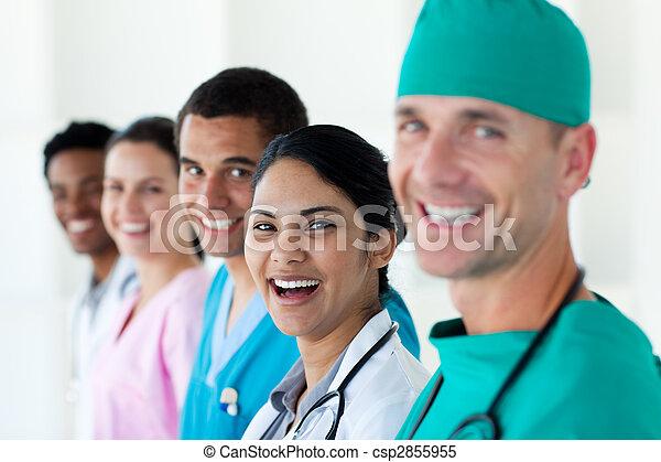 A diverse medical team in a line  - csp2855955