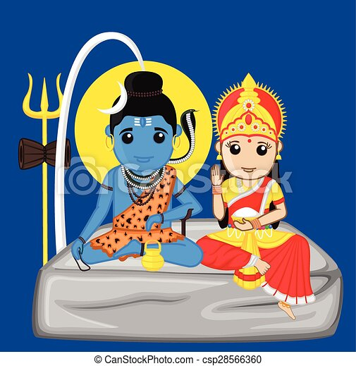 Clip Art Vector of Lord Shiva and Mata Parvati - Shiva and Parvati ...