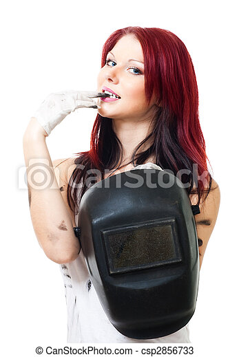 Attractive woman welder - csp2856733