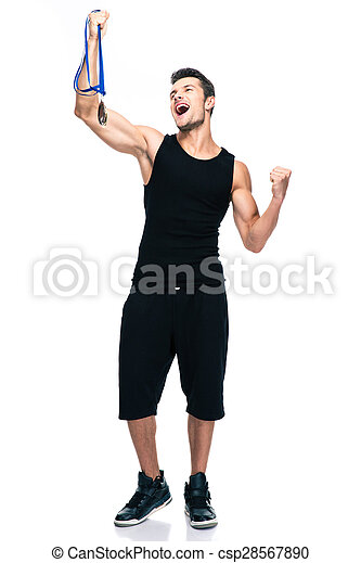 Sucess sports man holding winner medal - csp28567890