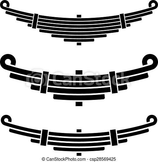 Vector Illustration of vehicle leaf spring black symbols ...