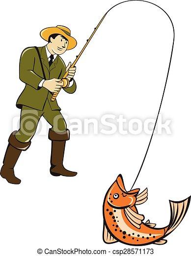 Illustrations vectoris es de mouche fish attraper - Dessin truite ...