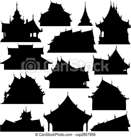 Temple building silhouettes - csp2857956