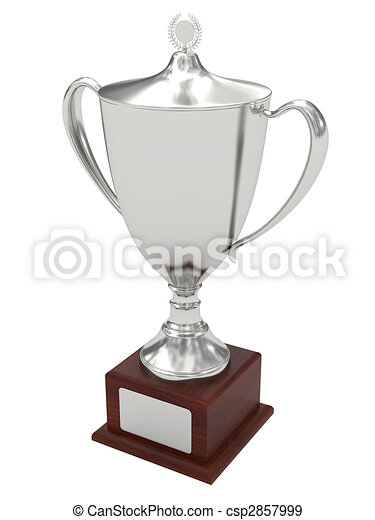 Silver trophy cup on wood pedestal with blank plate - csp2857999