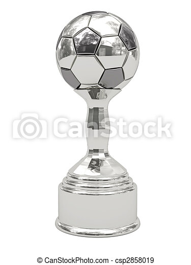 Silver soccer ball trophy on pedestal - csp2858019