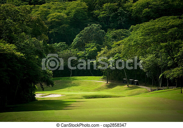 Golf course fairway at tropical resort - csp2858347