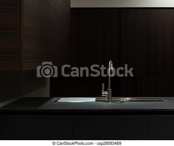 Dark Wood Kitchen Sink