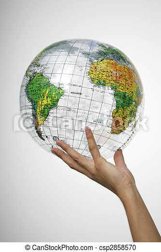 Hand holding a globe  - csp2858570