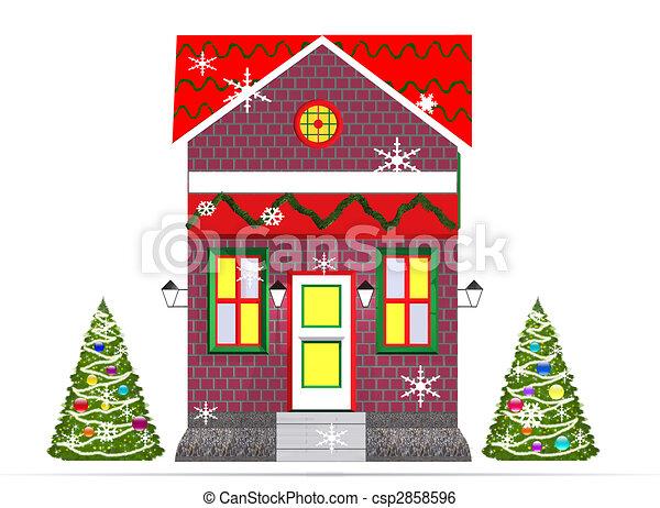 Christmas Inside House Drawing Christmas House Csp2858596