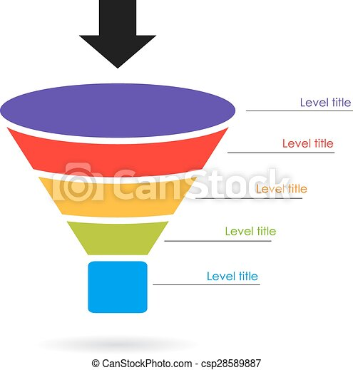 vector of funnel layered diagram on white background. Black Bedroom Furniture Sets. Home Design Ideas