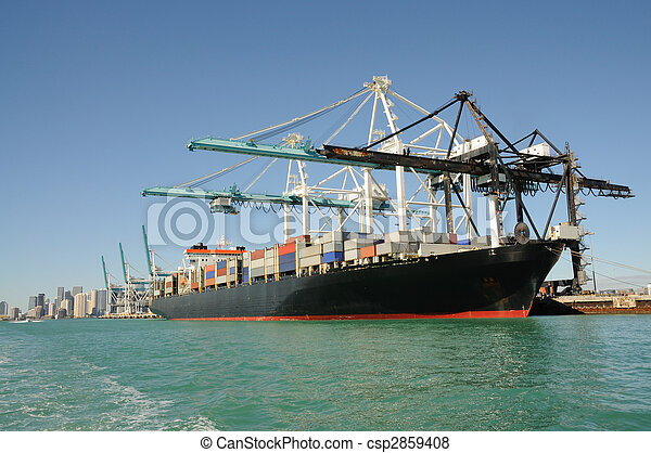 Container ship at industrial port  - csp2859408