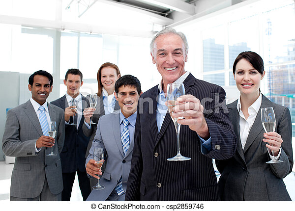 Happy diverse business group toasting with Champagne - csp2859746