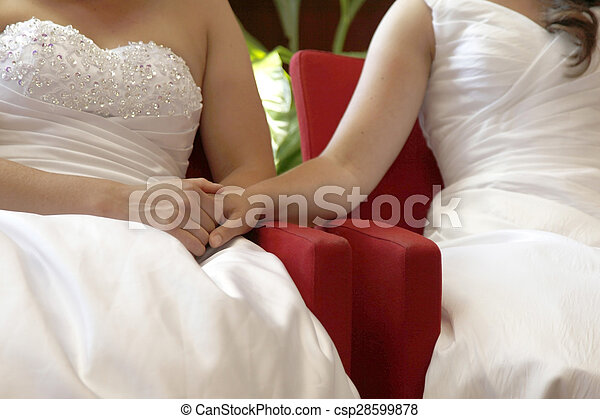 two brides on the verge of getting married hold hands