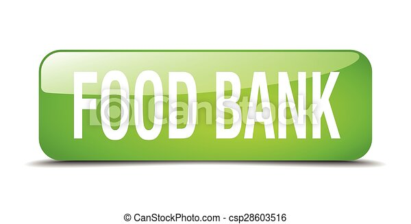 food bank green square 3d realistic vector illustration