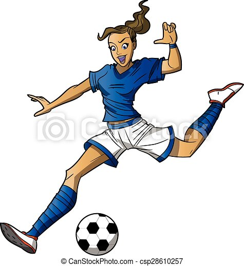 Clipart Vector of Girl Soccer Player - This is a cartoon vector ...
