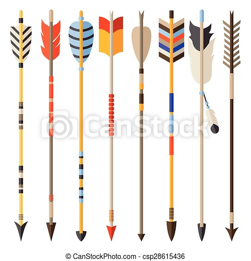 Ethnic set of indian arrows in native style - csp28615436