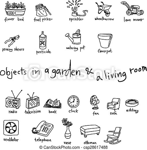 Vector of doodles of objects in garden and living room ...