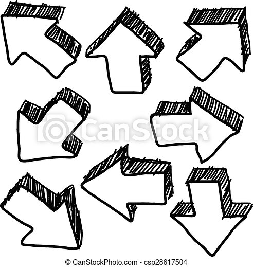 Vector Clipart of hand drawn doodles of 3D arrow - illustration ...