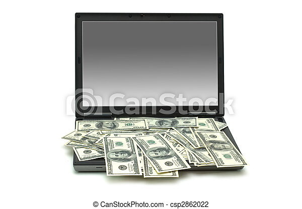 E-commerce concept with dollars and laptop isolated on the white - csp2862022