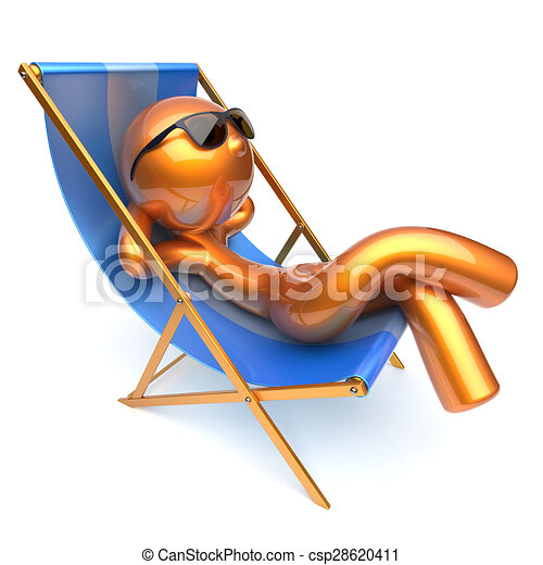 Clipart of man relaxing cartoon character chilling beach for Chaise 3d dessin
