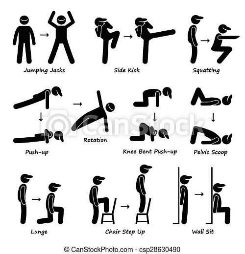 EPS Vectors of Body Workout Exercise Fitness Train - A set
