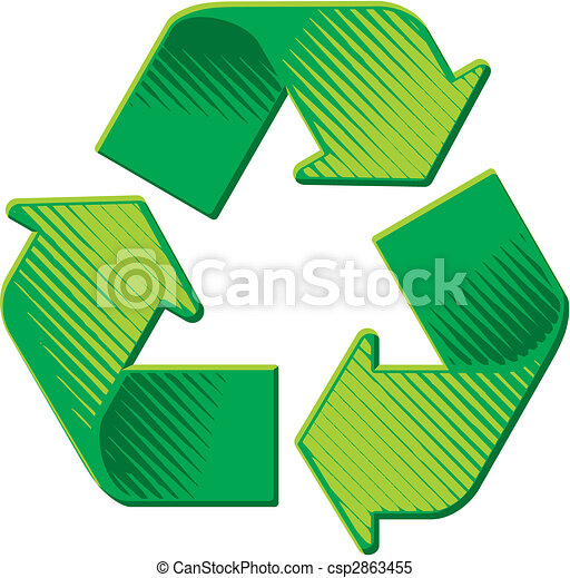 Recycling Symbol grunge woodcut shading vector - csp2863455