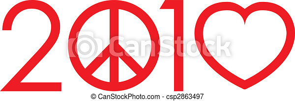 2010 Not war make love logo with peace sign and heart - vector - csp2863497