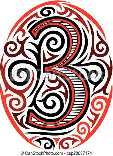 vectors illustration of number three tattoo tribal design csp28637174 search clipart. Black Bedroom Furniture Sets. Home Design Ideas