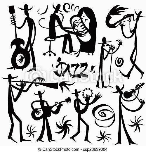 Vecteur de vecteur dessins anim s musiciens musiciens - Dessin musicien ...