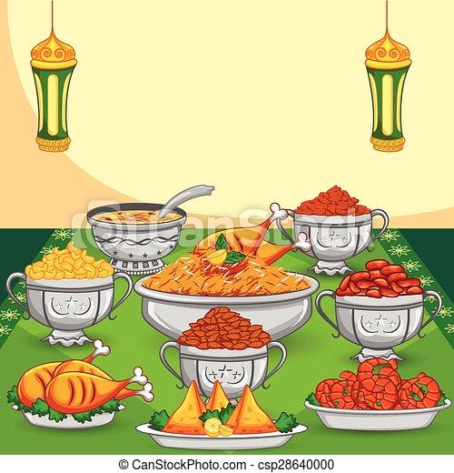 Vector Clipart of Ramadan Iftar food for Eid celebration in vector ...