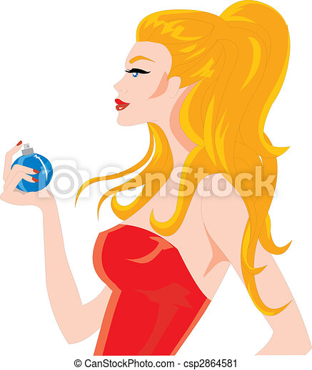 BEAUTIFUL WOMAN SPRAYING PERFUME  - csp2864581