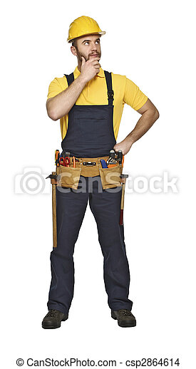 manual worker standing on white background - csp2864614