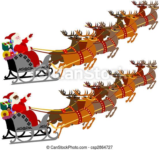santa sleigh reindeer - csp2864727